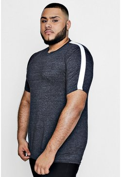 Big And Tall Slim Fit Panelled T-Shirt, Угольный, Мужские