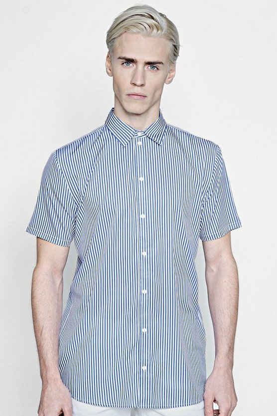 Mens Blue Short Sleeve Stripe Shirt