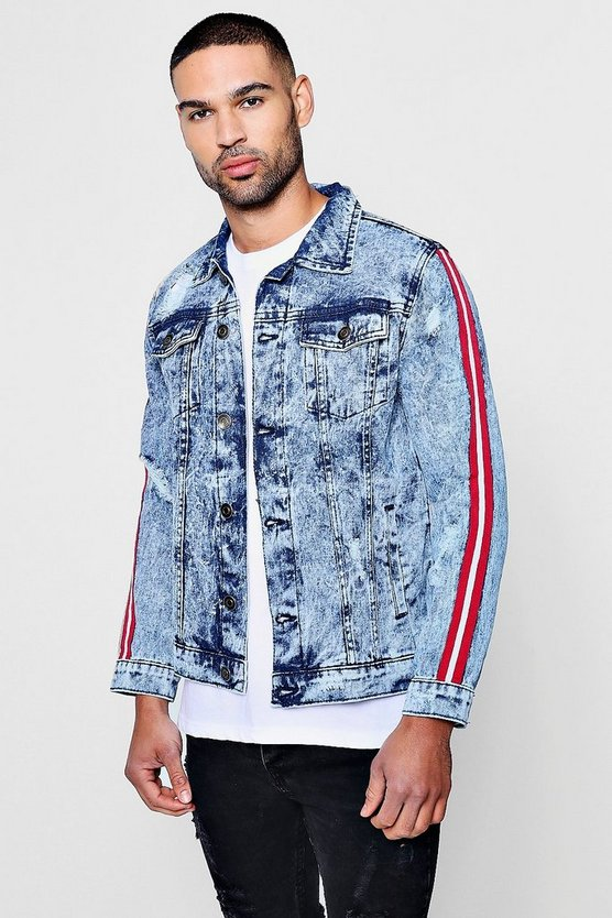 Sports Taping Acid Wash Denim Jacket