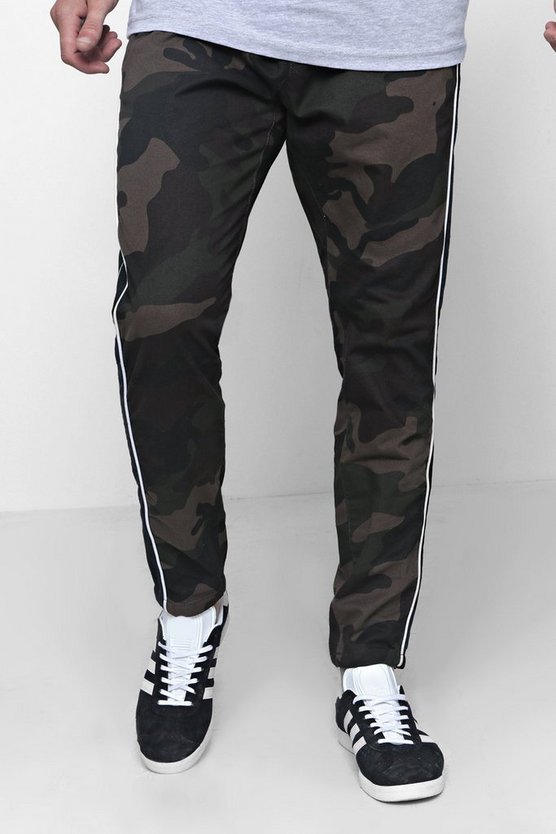 Camo Trousers With Side Piping Detail
