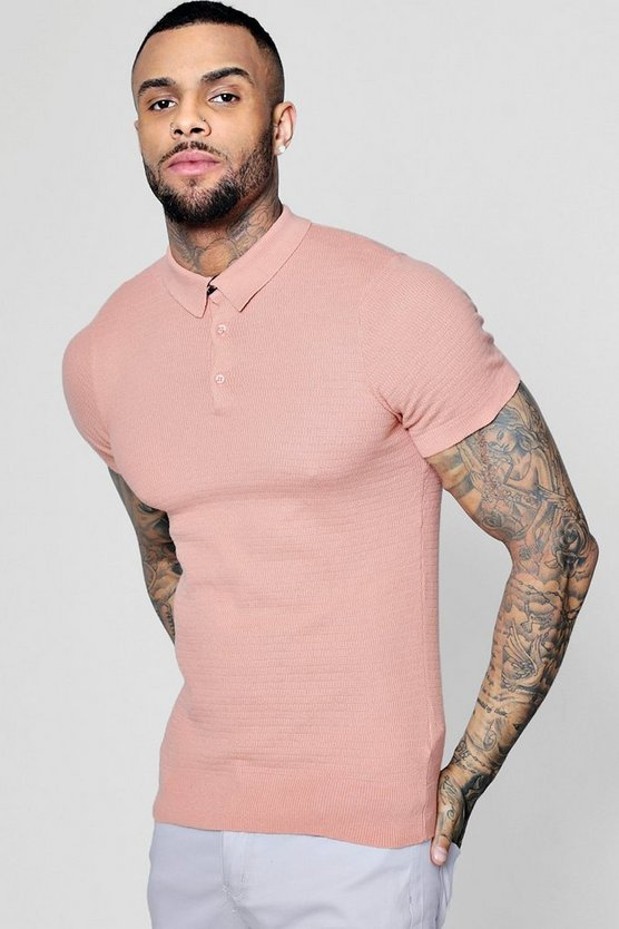 Mens Pink Short Sleeve Waffle Knit Polo