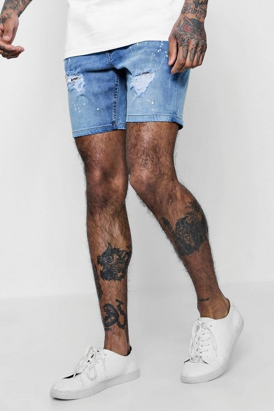 Skinny Fit Paint Splatter Denim Shorts
