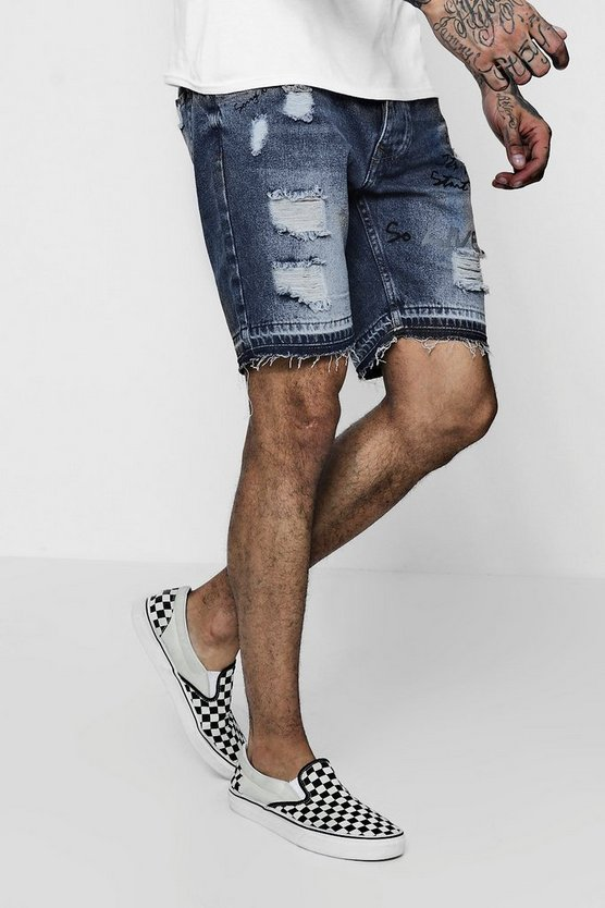Slim Fit Graffiti Print Denim Shorts