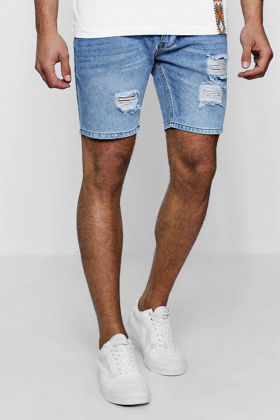 Slim Fit Rose Embroidered Denim Shorts