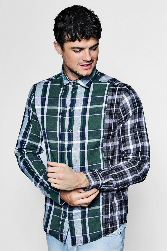 Spliced Brushed Check Shirt