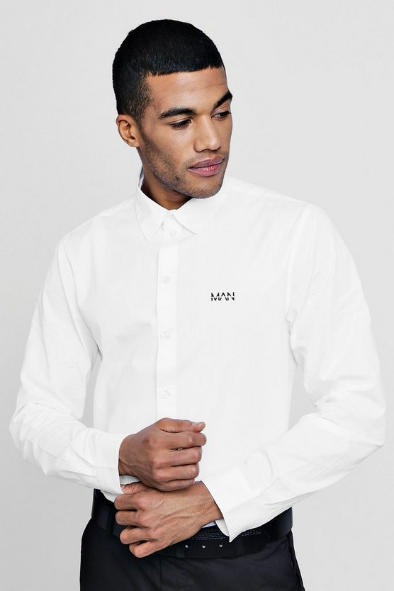 MAN Logo Embroidered Long Sleeve Shirt