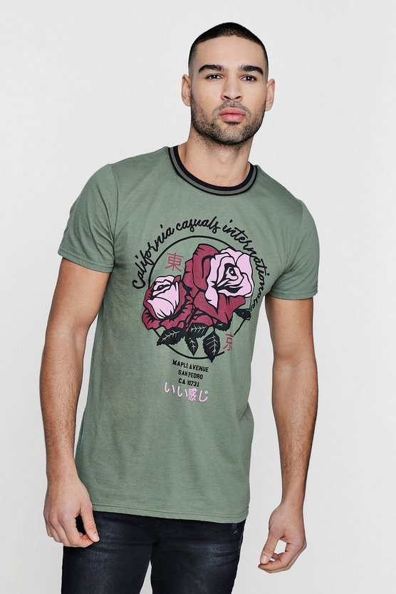 Rose Print T-Shirt With Sports Rib