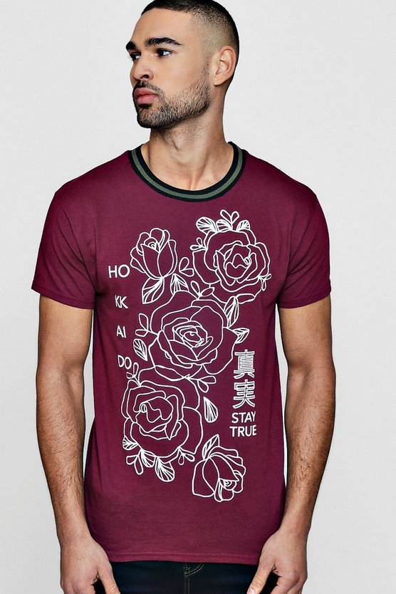 Floreale stampa t-shirt con coste sportive