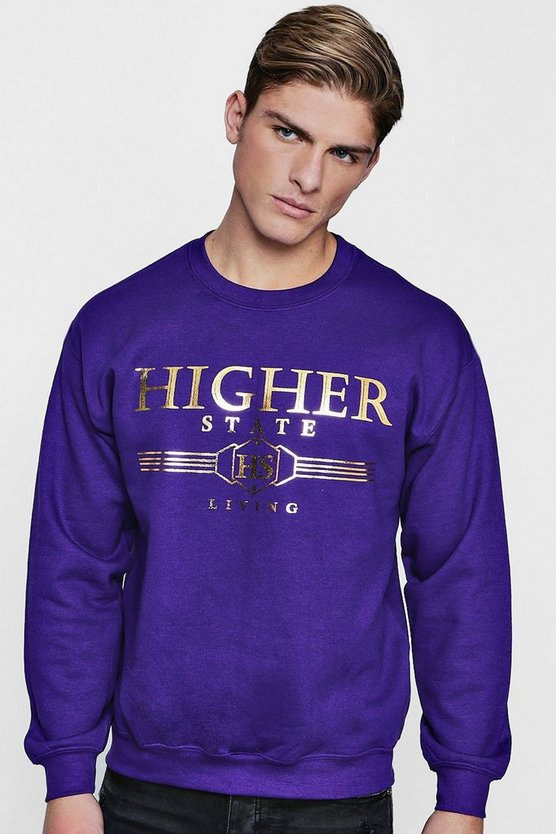 Higher State Foil Print Sweater