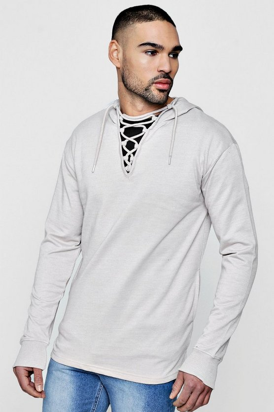 Mens Clay Lace Neck Hoodie