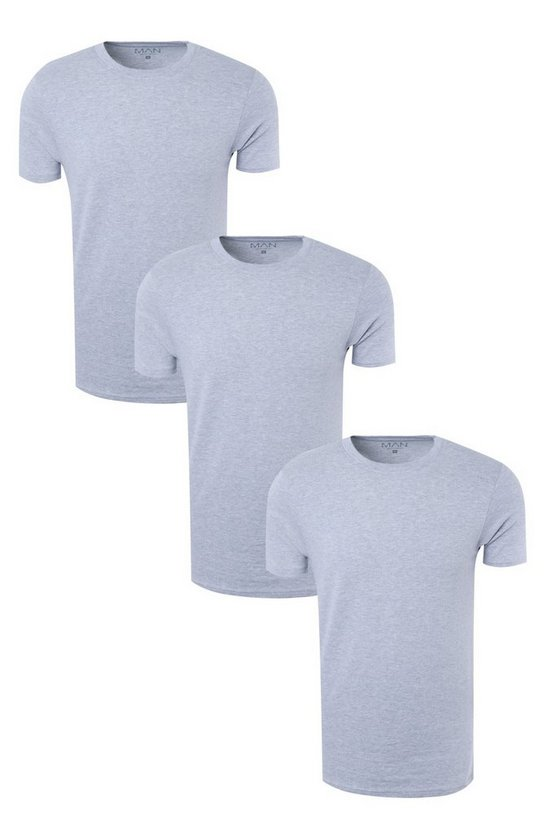 3 Pack Crew Neck T Shirts in Muscle Fit