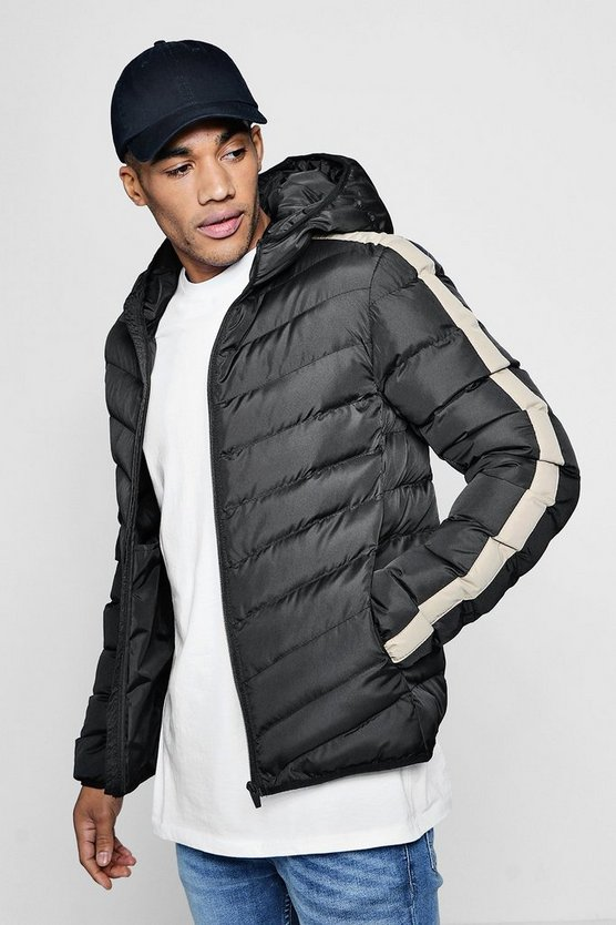 Hooded Contrast Panel Padded Jacket
