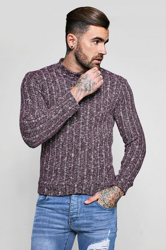 High Neck Knitted Slub Ribbed Jumper