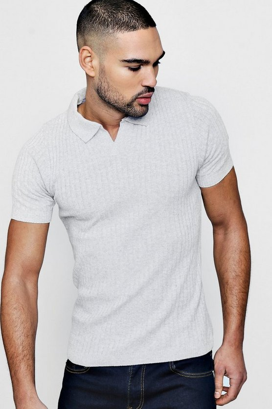 Open Placket Knitted Rib Polo