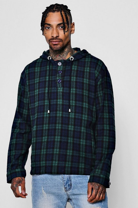 Green Brushed Check Hooded Shirt