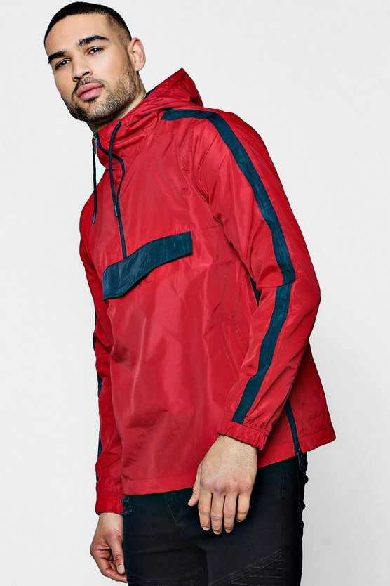Colour Block Hooded Overhead Cagoule