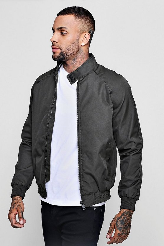 Raglan Harrington Jacket With Sports Tipping