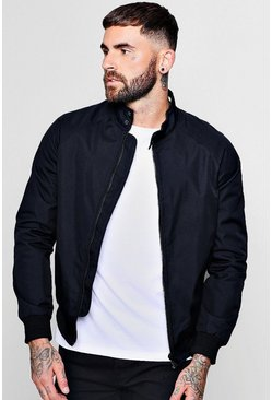 Mens Navy Raglan Harrington Jacket With Sports Tipping