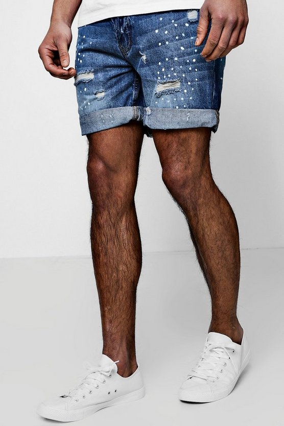 Slim Fit Paint Splatter Denim Shorts
