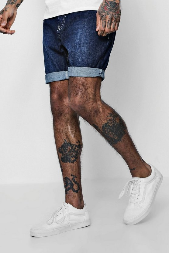 Mens Dark blue Slim Fit Rigid Denim Shorts
