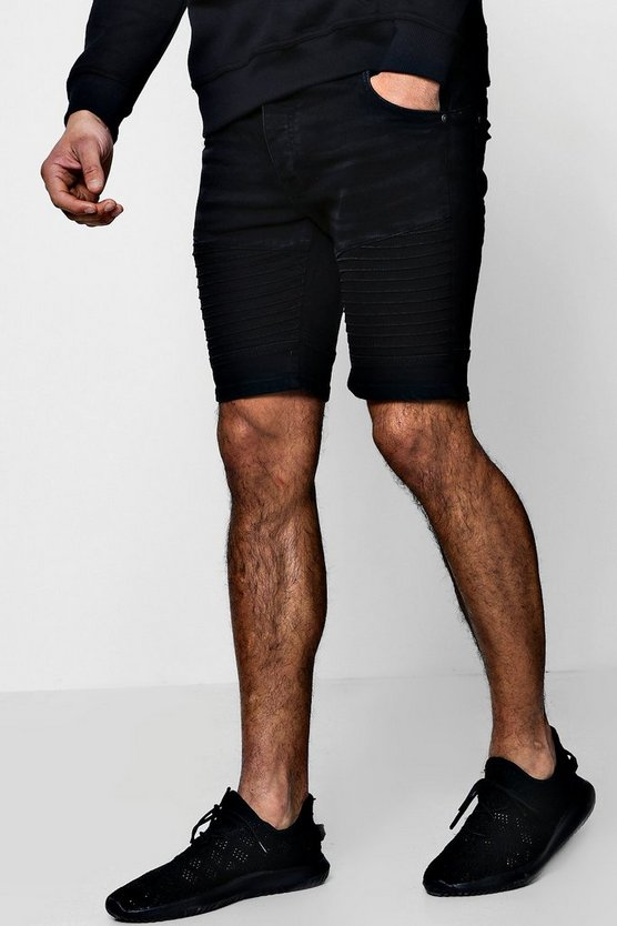 Skinny Fit Biker Denim Shorts