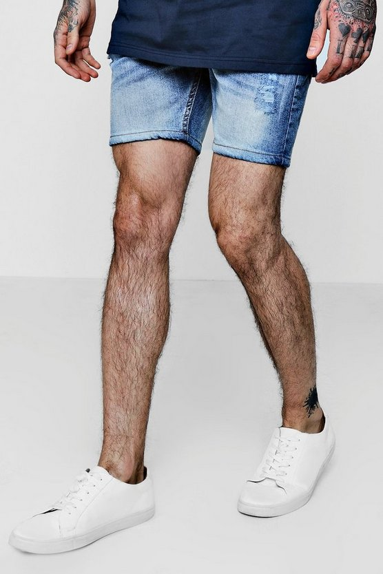 Skinny Fit Lightly Distressed Denim Shorts
