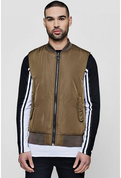 Mens Khaki Bomber Neck Sleeveless Gilet