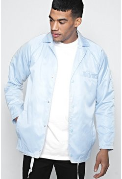 Mens Blue Sateen Coach Jacket