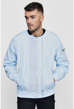 Herr Blue Double Zip Collarless Bomber Jacket