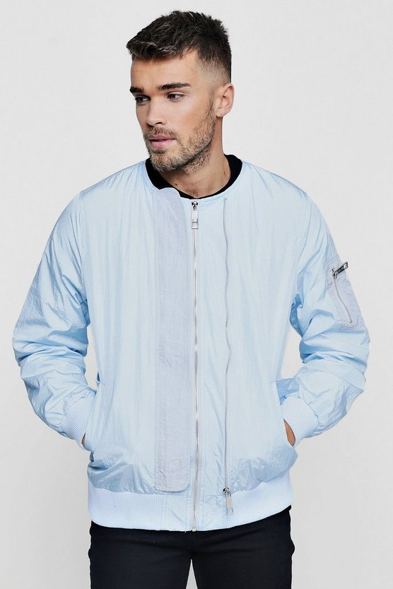 Double Zip Collarless Bomber Jacket