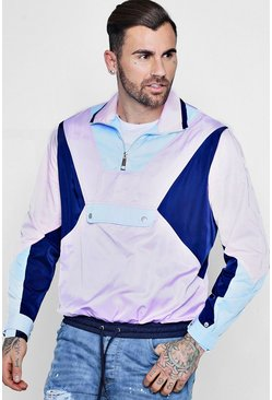 Mens Pink Colour Block Cagoule