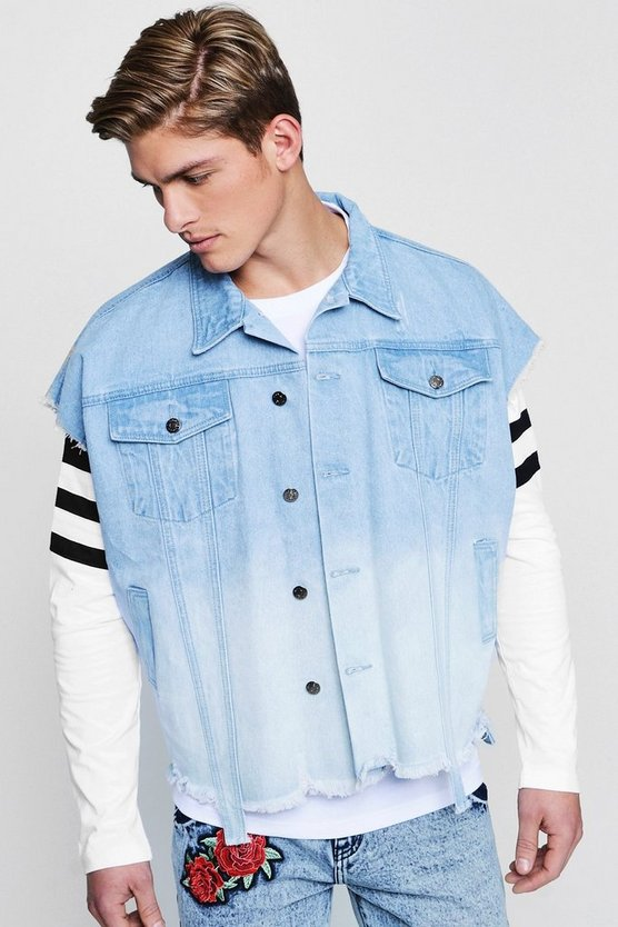 Ombre Effect Sleeveless Denim Jacket