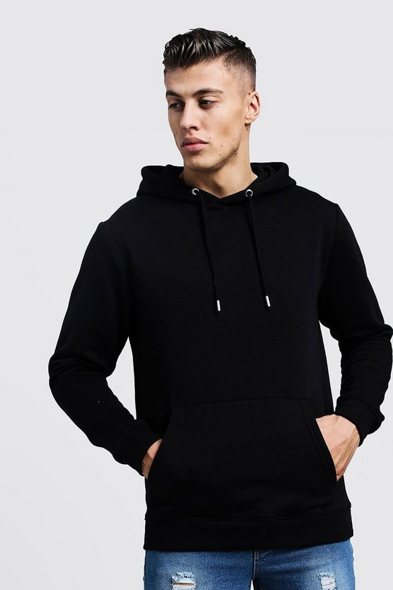 Mens Black Basic Over the Head Fleece Hoodie