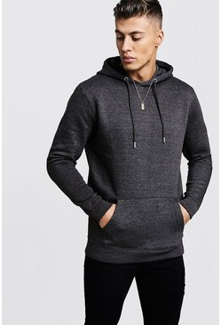 Mens Charcoal Basic Over the Head Fleece Hoodie