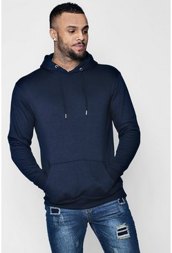 Mens Navy Basic Over the Head Fleece Hoodie