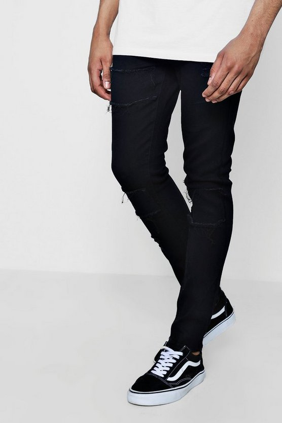 Raw Patchwork Super Skinny Jeans