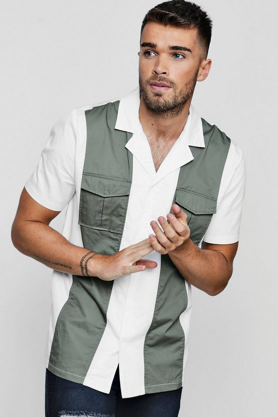 Colour Block Revere Collar Short Sleeve Shirt