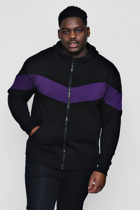 Big And Tall Chevron Panel Hoodie
