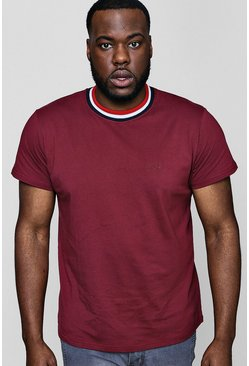 Mens Burgundy Big And Tall Sports Rib MAN T-Shirt