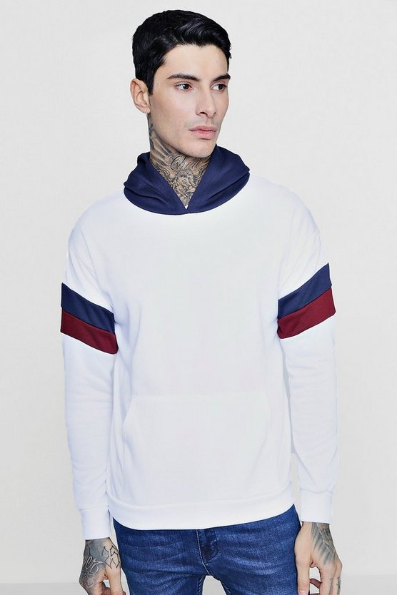 Loose Fit Hoodie With Panelled Sleeves