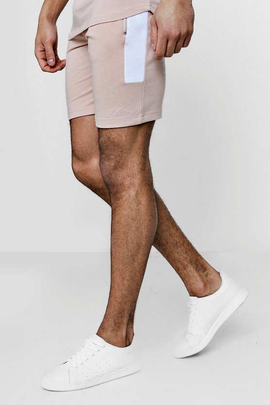 Skinny Fit MAN Signature Contrast Panelled Shorts