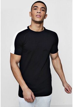 Herr Black Muscle Fit T-Shirt With Contrast Raglan Panel
