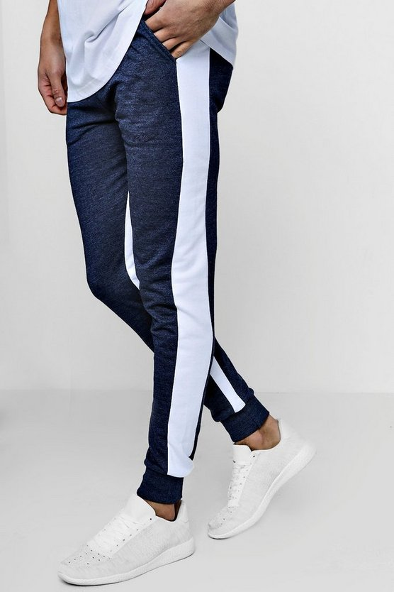 MAN Signature Skinny Fit Stripe Panelled Joggers