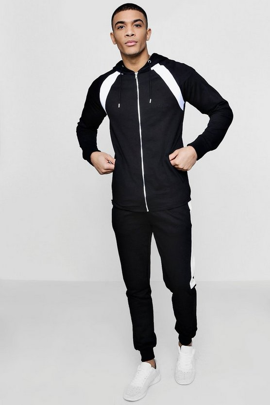 MAN Signature Muscle Fit Panelled Raglan Tracksuit