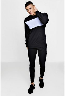 Mens Black MAN Signature Muscle Fit Panelled Tracksuit