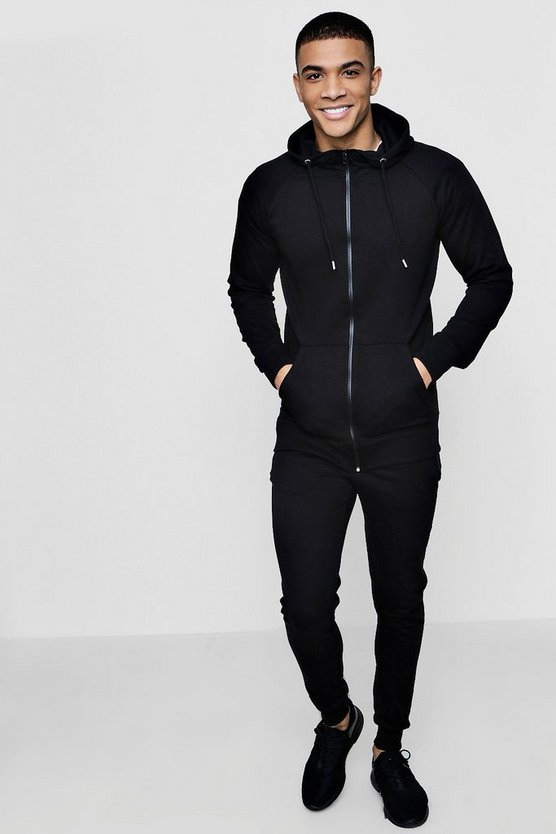 Mens Black MAN Signature Muscle Fit Hooded Tracksuit