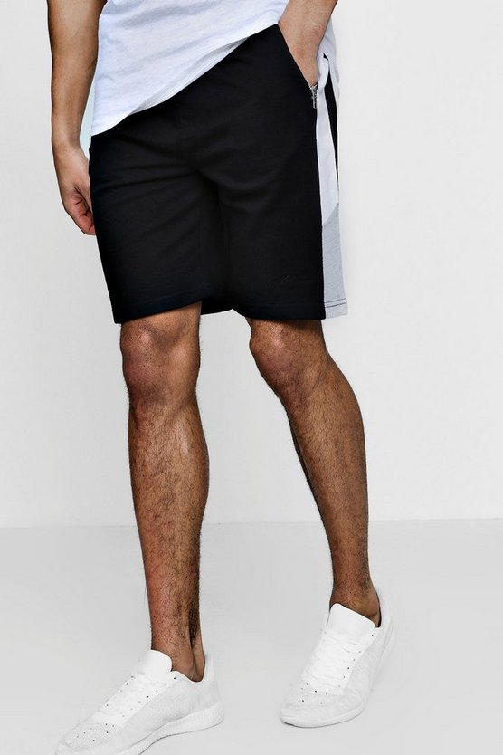 MAN Signature Skinny Fit Shorts With Side Panel