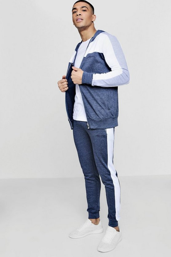 MAN Signature Muscle Fit Contrast Panel Tracksuit