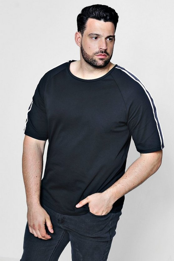 Big And Tall Rundhalsausschnitt T-Shirt mit Band in Velours-Optik