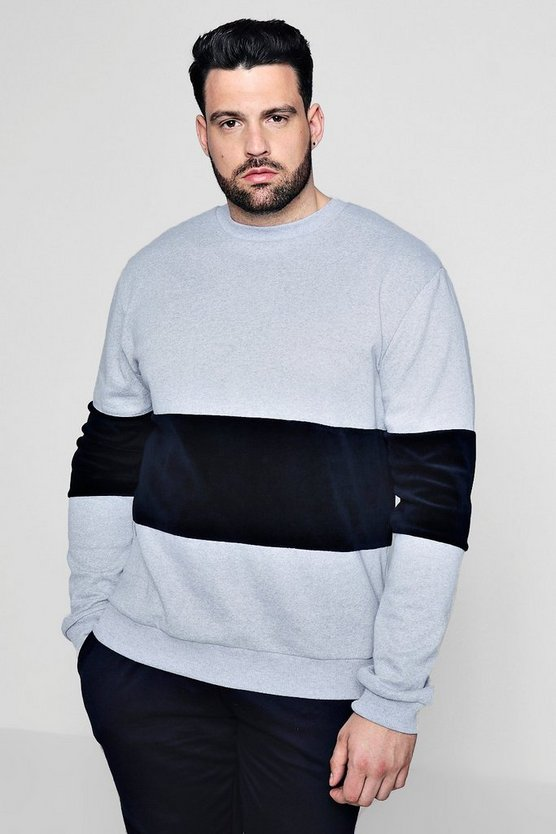 Big And Tall Velour Colour Block Sweater